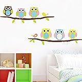 Nette Eulen auf Ast-Wand-Aufklebern für Kindergarten-Kinderzimmer-Hauptdekoration Vogel-Wandtattoo Tier-Eulen-Wandkunst