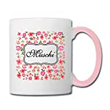 Muschi - Partnertasse Pimmel & Muschi Tasse zweifarbig, Weiß/Pink