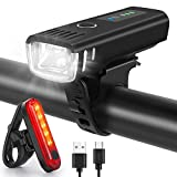 WQJifv LED Fahrradlicht Set, StVZO Zugelassen USB Fahrradbeleuchtung Aufladbar Frontlicht/Rücklicht,Wasserdicht Fahrradlichter Vorne Akku Wiederaufladbar Batterie Licht für Fahrrad