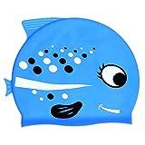 TOYANDONA Kinder Badekappe Wasserdicht Bademütze aus Silikon rutschfest wasserdicht Haarepflege für Kinder und Jugendlich Niedliche Delfine Muster für Jungen Mädchen Strand Schwimmbad Blau