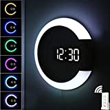 LLFFDC LED-Licht Wanduhr, Kreative Fernbedienung Digitaluhr Mit Alarm- Und Temperaturanzeige Funktion, 7-Farben-Nachtlicht Wandleuchte Mit Variablem Ring Für Home Office Dek