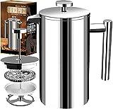 [1 Liter / 1000 ml} 8 cups Kaffeebereiter - Doppelwandige Edelstahl - Kaffeemaschine - Französische Kaffeepresse - Kaffeekanne - Französisches Pressensystem mit Edelstahlfilter - KICHLY (Silber)