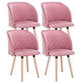 EUGAD 0303BY-4 4X Esszimmerstühle Wohnzimmerstuhl Polsterstuhl Küchenstuhl mit Beine aus Massivholz, Retro Design, Samt, R