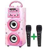 DYNASONIC (3rd Gen) Bluetooth Lautsprecher für Karaoke Kinder Anlage MP3 Player Boxen Akku-Lautsprecherbox 025 (Leuchtend rosa)
