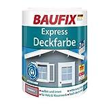 BAUFIX Express-Deckfarbe, Wetterschutzfarbe dunkelgrau, 1 Liter, wetterbeständige Deckfarbe für außen und innen, geeignet für Holz, Putz, Mauerwerk, Möbel, Zäune, schnelle Trocknung