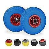 Relaxdays Sackkarrenrad 2er Set, pannensichere 3.00-4' Vollgummireifen, 25mm Achse, bis 80 kg, 260x85 mm, blau-rot