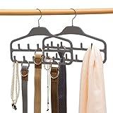 ELONG HOME Gürtelaufhänger, 2er-Pack, stabiler Gürtelorganizer mit 360-Grad-Drehgelenk, 11 große Gürtelhaken für Schrank, rutschfeste gummierte Gürtelaufbewahrung, grau