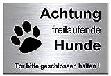 Freilaufende Hunde-Hund-Schild-30 x 20 cm-Hundeschild-Aluminium Edelstahloptik-Hunde-Warnschild-Hinweisschild 133-11 (300 x 200 x 3 mm silber mit Löcher)