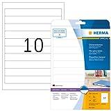 HERMA 5119 Ordnerrücken Etiketten für Ringbücher DIN A4 blickdicht (192 x 25,4 mm, 25 Blatt, Papier, matt) selbstklebend, bedruckbar, permanent haftende Ordneretiketten, 250 Rückenschilder, weiß
