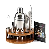 ValaVie Cocktail Set (12 Teiliges) Mit 750 ml Cocktail Shaker,Bambus Ständer,Cocktail Rezepte