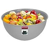 KADAX Schüssel aus Kunststoff, Salatschüssel, stapelbare Rührschüssel, Plastikschüssel, Küchenschüssel, runde Servierschüssel für Küche, Salat, Teig, spülmaschinenfest (2L, grau)