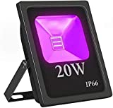 Lamps Arbeitsleuchte LED-Flutlicht 20W LED schwarz Arbeitslicht mit Stecker (4,6 Fuß Kabel) |IP66 wasserdichte Sicherheitsleuchten geeignet für Schwarze Lichtpartys, SE Beleuchtung, Aquarium LQHZWYC