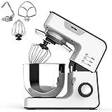 OSTBA Küchenmaschine, Knetmaschine 1500W mit 5.2L Edelstahl-Rühlschüssel, Küchenmaschine mit Knethaken, Schneebesen & Mixhaken, 8 Geschwindigkeit Geräuschlos Teigmaschine, Spritzschutz, Weiß