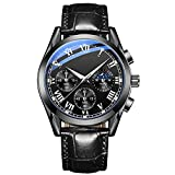 MAID Gut aussehend Glänzende stilvolle Herrenuhr, Herrenquarz-Uhr Noctilucent Business wasserdichter Luxusuhr Business Watch (Color : All Black face, Size : A)
