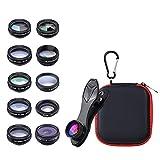 IPOTCH 10 in 1 fon Kamera Objektiv Kit Weitwinkel/Makro/Fisheye//CPL/Fluss/radial/Sterne Filter/Kaleidoskop Objektiv für iPhone und Die M