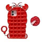 Aweevnye Kompatibel mit iPhone 12 Pro Pop It Handyhülle Carton Cute Cover für Kinder Mädchen Frauen Push Pop Pop Bubble Sensory Fidget Kawaii 3D Skin Funny Schutzhülle für iPhone 12 6,1 Zoll Hummerrot