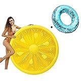 Gcxzb Schwimmreifen Aufblasbarer Obstpool Schwimmen mit Badringen, Quick-Fill-Ventile, Sommer-Pool-Floß für Schwimmbad-Party-Dekorationen (Color : Yellow)