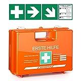 Erste Hilfe Kasten mit Inhalt nach DIN 13157 I Inkl. praktischer Wandhalterung, 4x Aufkleber & Plombe I Erste Hilfe Koffer für Betriebe, Einrichtungen & Zuhause