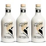 VOGELFREI alkoholfreie Gin Alternative, 3er Tasting-Set mit 21 fruchtigen Botanicals aus der HEIMAT Destille wie Zitronenverbene, Thymian, Wiesensalbei und Wacholder - Handcrafted (3 x 0,5l)