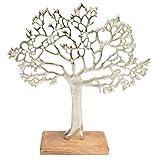 CHICCIE Metall Baum Figur Silber Auf Mango Holz 21cm - Lebensbaum Dekobaum Geldbaum