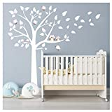Bdecoll Kinderzimmer Wandtattoo,Baum mit Owls Wand Aufkleber Sticker Wandtattoos (Pink)