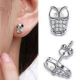 N-K Mode Frauen Praktische Tier Eule Kristallrhinestones Jeweley Ohrringe-Silber