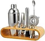 Barbieya 2-10-teiliges Edelstahl-Shaker-Set, großer Getränkemixer, Bambus-Ständer, perfektes Heim-Barkeeper-Set (750 ml)