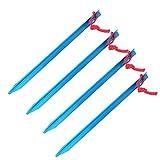 Cyrank 4PCS Zeltnägel Heavy Duty, Zeltpfähle Zeltpflöcke Pfähle 23cm Aluminiumlegierung im Freien verlängern ultraleichten Zeltpflock(Blau)