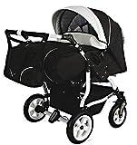 Adbor Duo Spezial Zwillingskinderwagen mit Babyschalen, Zwillingswagen, Zwillingsbuggy Farbe D-5 schwarz/weiss