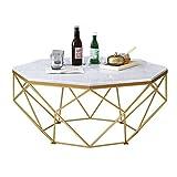 Yamyannie Tatami Couchtisch Nordic Marmor Couchtisch Couchtisch Niedriger Wohnzimmer Tisch Metall-Sockel Basis kreative Heller Luxus für Zuhause (Farbe : Black, Size : 87x87x45cm)