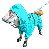 Sorlakar Hunde-Regenmantel mit verstellbarem Bauchgurt und Leinen-Loch, Hoodie mit reflektierendem Streifen, wasserdichter Haustier-Regenponcho-Jacke für kleine und mittelgroße Hunde
