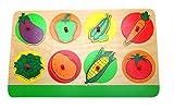 edu fun 10005 Steckpuzzle Holzpuzzle Gemüse Aubergine Paprika Erbsen Salat Kartoffel Mais Tomate Karotte Puzzle Setz-Puzzle Kinder 100% FSC