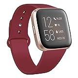 Deilin Armband für Fitbit Versa/Fitbit Versa Lite für Damen und Herren, Silikon Sport Armband Weiches Verstellbares Armband für Fit bit Versa Smartwatch (Weinrot, S)