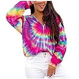 BUKINIE Damen-Kapuzenjacke, langärmelig, mit Reißverschluss, Colorblock-Batik, gemütlich, übergroß, leichte Oberbekleidung Gr. XXX-Large,