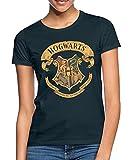 Harry Potter Hogwarts Wappen Frauen T-Shirt, L, Navy