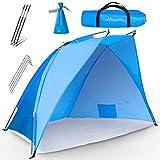 TRESKO Strandmuschel inkl. Tragetasche | Strandzelt mit UV Schutz 50+ | Kleines Packmaß | Wasserdicht und atmungsak