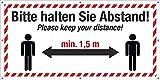 PVC Werbebanner Banner Plane Festival Bauzaunplane Bitte Abstand halten Englisch