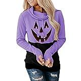 Frauen Halloween Kürbis Hoodies Langarm Farbblock Kordelzug Pullover Lose Casual Sweatshirt Hoodie, violett, 36