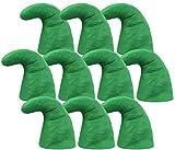 Alsino Zwergenmützen Zwergenmütze für Erwachsene Wichtelmütze Zwerg Kostüm Karneval Elfenmütze Zwergen Zipfelmützen (10er Paket) , Grün