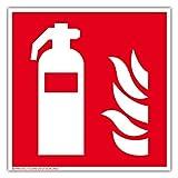 Hochwertiges Feuerlöscher Schild stark nachleuchtend, selbstklebend 150mm x 150mm aus PVC - Symbolschild Kennzeichnung - ORIGINAL Protecticure ASR A1.3, DIN EN ISO 7010 - Brandschutzzeichen