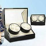Flybear-4+0 hölzerner Uhrenbeweger, Drehteller für automatische Wickelvorrichtung, Haushaltsuhrenbox(schwarz)