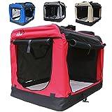 Hundetransportbox faltbar Transportbox für Hunde Hundebox Auto - Dogi Kennel - 6 Größen - 4 Farben (M (60 x 42 x 42 cm), Rot)