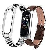Für Mi Band 4/5 Armband 2er Pack Metall Edelstahl & Leder Armband für Xiaomi Mi Band 6 Armband kompatibles Miband 5 Armband