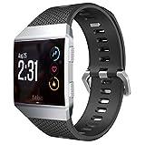MyFitBands Armband kompatibel für Fitbit Ionic Ersatz Qualität stylisches Band verstellbar sicheren Verschluss, Schwarz Groß