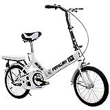 ALUNVA 16 20 Zoll Erwachsene Klapprad,Urban Commuter Tragbares Fahrrad,City Compact Bike,Stadt Riding Bicycle,Weiß-Weiß 16inch