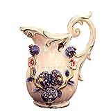 gxj Vasen Blauer Granatapfel im europäischen Stil Künstliche Blume Blumenarrangement Keramikvase Wohnkultur und Tischdekoration, für Freunde und Familie