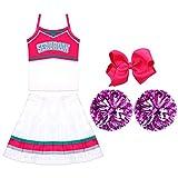 Rcinodhilary Zombies Cheerleader Kostüm Kostüm Outfit mit Pom Poms Halloween School Musical Karneval Outfit Cheerleading Cosplay Kostüm für Mädchen