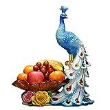SJYDQ Europäischer Stil Pfau Obst Platte Wohnzimmer Home Kreative Couchtisch Dekoration Licht Getrocknete Früchte Bonbonplatte Hochzeitsgeschenk