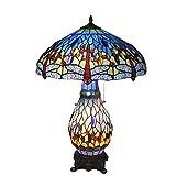 Water cup Kreative Tischlampe Tiffany Style Dragonfly Tischlampe Mit Beleuchtetem Sockel, Handgefertigte 18 Zoll Breite Glasmalerei-Schreibtischlampe, Retro-Dekoration Wohnzimmer Schlafzimme