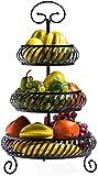 Gububi Obstschale, Korbhalter für Gemüse, 3 Etagen, Obstkorb, Ständer, rund, Metall, dekorativer Draht, Obstkorb, Schüssel für Küchentisch oder Theke, schwarz